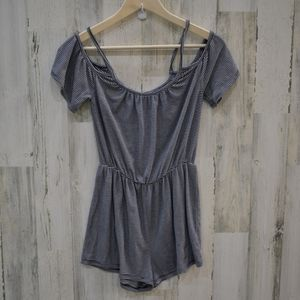 One Clothing cold shoulders romper striped